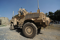 RG31 MRAP vehicle from RCP29 (103rd Mountain Division - Route Clearance Patrol), parked  outside a police compound  in the Kunar Valley near the Pakistan border.