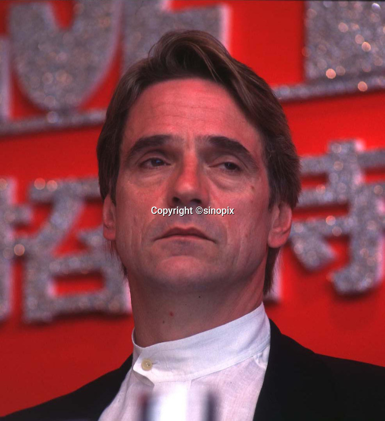 Jeremy Irons, an English actor at the press conference in Hong Kong