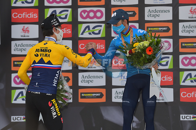 Slovenian Champion Primoz Roglic (SLO) Jumbo-Visma finishes in 2nd place with Alejandro Valverde (ESP) Movistar Team on the podium in 3rd place at the end of the 2021 Flèche-Wallonne, running 193.6km from Charleroi to Huy, Belgium. 21st April 2021.  <br /> Picture: Serge Waldbillig | Cyclefile<br /> <br /> All photos usage must carry mandatory copyright credit (© Cyclefile | Serge Waldbillig)