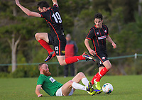 Action from the Central League Football match between Western Suburbs and Wairarapa United at Endeavour Park in Wellington, New Zealand on Sunday, 28 June 2020. Photo: Dave Lintott / lintottphoto.co.nz