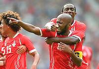 July 26, 2012..United Arab Emirtes Forward Ismaeil Matar (10) and Defender Ahmed Khalil (11) celebrate after scoring a goal against Uruguay during group A Football match between United Arab Emirates and Uruguay at Old Trafford in Manchester, England. Uruguay defeat United Arab Emirates 2-1...