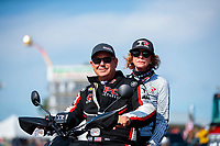 Aug 18, 2019; Brainerd, MN, USA; NHRA top fuel driver Billy Torrence with wife Kay Torrence during the Lucas Oil Nationals at Brainerd International Raceway. Mandatory Credit: Mark J. Rebilas-USA TODAY Sports