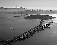 aerial photograph of San Francisco Oakland Bay Bridge toward Yerba Buena island and San Francisco
