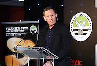 Pictured: Chairman Huw Jenkins addressing the diners Wednesday 20 May 2015<br /> Re: Swansea City FC Awards Dinner at the Liberty Stadium, south Wales, UK
