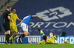26.12.2020 Rangers v Hibs: Scott Arfield injures himself chasing after Melker Hallberg