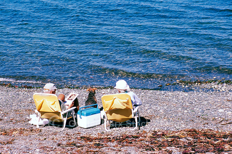 "A Couple and their Pet Dog sunbathing on the Beach at Qualicum Beach, in the ""Oceanside Region"" of Vancouver Island, British Columbia, Canada"