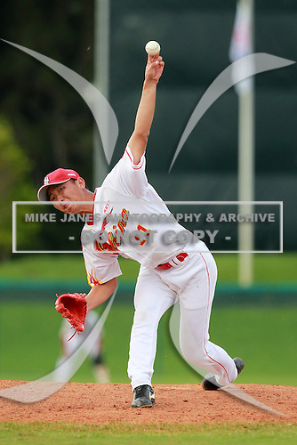 Pitcher Liu Kai (11) of the China National Team during a game vs. the Washington Nationals Instructional League team at Holman Stadium in Vero Beach, Florida September 28, 2010.   China is in Florida training for the Asia games which will be played in Guangzhou, China in November.  Photo By Mike Janes/Four Seam Images