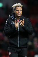 Lyle Taylor, scorer of Charlton's opening goal applauds the home fans at the final whistle during Charlton Athletic vs Barnsley, Sky Bet EFL Championship Football at The Valley on 1st February 2020
