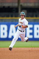 Michael Burns (44) of the Miami Hurricanes rounds second base against the Georgia Tech Yellow Jackets during game one of the 2017 ACC Baseball Championship at Louisville Slugger Field on May 23, 2017 in Louisville, Kentucky. The Hurricanes walked-off the Yellow Jackets 6-5 in 13 innings. (Brian Westerholt/Four Seam Images)