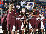 The Texas State Bobcats team huddles up before the game between the Texas State Bobcats and the UTA Mavericks held at the University of Texas at Arlington's, Texas Hall, in Arlington, Texas. UTA defeats Texas State 79 to 63