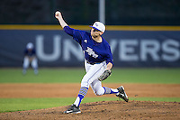 High Point Panthers relief pitcher Tyler Britton (4) delivers a pitch to the plate against the Davidson Wildcats at Willard Stadium on March 24, 2015 in High Point, North Carolina.  The Panthers defeated the Wildcats 15-2.  (Brian Westerholt/Four Seam Images)
