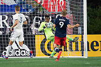 FOXBOROUGH, UNITED STATES - AUGUST 20: Andre Blake #18 of Philadelphia Union saves a shot on goal during a game between Philadelphia Union and New England Revolution at Gilette on August 20, 2020 in Foxborough, Massachusetts.
