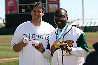 April 14, 2010:  Mayor Byron Brown and Olympic Gold Medalist Steve Mesler pose before the opening home game vs. Pawtucket at Coca-Cola Field in Buffalo, New York.  The Bisons are the Triple-A International League affiliate of the New York Mets.  Photo By Mike Janes/Four Seam Images