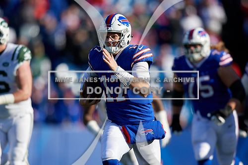 Buffalo Bills quarterback Josh Allen (17) rushes up field during an NFL football game against the New York Jets, Sunday, December 9, 2018, in Orchard Park, N.Y.  (Mike Janes Photography)
