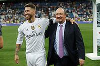 Real Madrid´s Sergio Ramos and Rafa Benitez after winning the Santiago Bernabeu Trophy at Santiago Bernabeu stadium in Madrid, Spain. August 18, 2015. (ALTERPHOTOS/Victor Blanco)