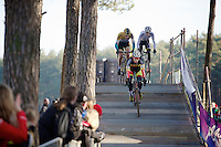 race leaders Laurens Sweeck (BEL/Corendon-Kwadro), Toon Aerts (BEL/Telenet-Fidea) & Michael Vanthourenhout (BEL/Sunweb-Napoleon Games) crossing the bridge<br /> <br /> U23 race<br /> Krawatencross <br /> bpost bank trofee 2015