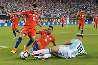 Action photo during the match Argentina vs Chile, Corresponding to Great Final of the America Centenary Cup 2016 at Metlife Stadium, East Rutherford, New Jersey.<br /> <br /> <br /> Foto de accion durante el partido Argentina vs Chile, correspondiente a la Gran Final de la Copa America Centenario 2016 en el  Metlife Stadium, East Rutherford, Nueva Jersey, en la foto: (i-d) Gary Medel, Mauricio Isla de Chile y Erik Lamela de Argentina<br /> <br /> <br /> 26/06/2016/MEXSPORT/Jorge Martinez.