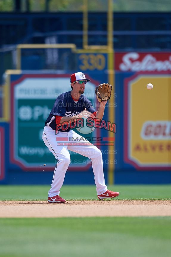 Reading Fightin Phils second baseman Brandon Bednar (19) fields a ground ball during the first game of a doubleheader against the Portland Sea Dogs on May 15, 2018 at FirstEnergy Stadium in Reading, Pennsylvania.  Portland defeated Reading 8-4.  (Mike Janes/Four Seam Images)