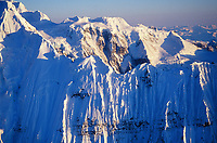 Knife edge ridge of the grand parapet, Wrangell St. Elias mountain range, Wrangell St. Elias National Park, Alaska