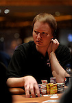 """Jon """"Pearljammer"""" Turner is near the top of the chip count during the next to last level of play on Day 2."""
