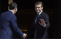 Pictured: French President Emmanuel Macron (R) is greeted by Greek Prime Minister Alexis Tsiptas on the steps of Megaro Maximou (Maximou Mansion) in Athens, Greece. Thurday 07 September 2017<br /> Re: French President Emmanuel Macron state visit to Athens, Greece.