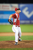 Batavia Muckdogs relief pitcher Shane Sawczak (33) during a game against the Aberdeen Ironbirds on July 14, 2016 at Dwyer Stadium in Batavia, New York.  Aberdeen defeated Batavia 8-2. (Mike Janes/Four Seam Images)