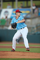 Hickory Crawdads starting pitcher Cole Winn (24) in action against the Charleston RiverDogs at L.P. Frans Stadium on August 10, 2019 in Hickory, North Carolina. The RiverDogs defeated the Crawdads 10-9. (Brian Westerholt/Four Seam Images)