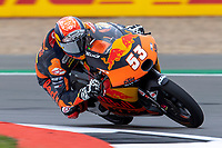 27th August 2021; Silverstone Circuit, Silverstone, Northamptonshire, England; MotoGP British Grand Prix, Practice Day; Red Bull KTM Tech3 rider Deniz Oncu on his KTM RC250GP in the Moto3 category