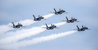 The six F/A-18 demonstration pilots fly 120 training flights during the break from flying air shows.  The teamwork and trust required means that while the team can substitute a jet if necessary, there are no substitute pilots.<br /> <br /> Photo by Matt Cashore/University of Notre Dame