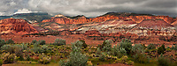 908000008 panoramic waterrpocket fold below storm clouds at west entrance to capitol reef national park utah united states
