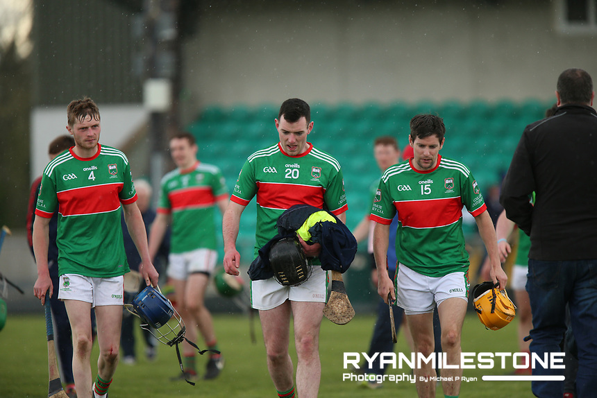 Loughmore/Castleiney players Dinny Brereton, Tommy Maher, and Evan Sweeney leave the field at the end of the Centenary Agri Mid Senior Hurling Championship Quarter Final between Loughmore/Castleiney and Drom Inch on Saturday 28th April 2018 at Templetuohy, Co Tipperary, Photo By Michael P Ryan