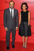 """NEW YORK, NY - NOVEMBER 20: Jeffrey Wright, Meta Golding at the New York Premiere Of Lionsgate's """"The Hunger Games: Catching Fire"""" held at AMC Lincoln Square Theater on November 20, 2013 in New York City. (Photo by Jeffery Duran/Celebrity Monitor)"""