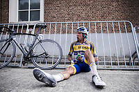 Sander De Pestel (BEL/Sport Vlaanderen Baloise) post race exhausted<br /> <br /> <br /> Dwars Door Het Hageland 2020<br /> One Day Race: Aarschot – Diest 180km (UCI 1.1)<br /> Bingoal Cycling Cup 2020
