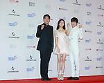 KangIn(SUPER JUNIOR),  Baek Jin-Hee and EunHyuk(SUPER JUNIOR), Jun 07, 2014 : K-pop boy band Super Junior's Kang-in (L) and Eun-hyuk (R) pose with actress Baek Jin-Hee before the Dream Concert in Seoul, South Korea. (Photo by Lee Jae-Won/AFLO) (SOUTH KOREA)