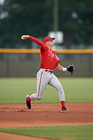 GCL Phillies East third baseman Curtis Mead (38) throws to first base during a Gulf Coast League game against the GCL Yankees East on July 31, 2019 at Yankees Minor League Complex in Tampa, Florida.  GCL Phillies East defeated the GCL Yankees East 4-3 in the second game of a doubleheader.  (Mike Janes/Four Seam Images)