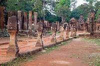 Cambodia, Banteay Srei, 10th. Century.  Boundary Stones Marking the Causeway.