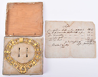 BNPS.co.uk (01202 558833)<br /> Pic: C&TAuctions/BNPS<br /> <br /> PICUTRED: The receipt for the necklace.<br /> <br /> An extravagant gold and diamond necklace Napoleon reputedly gave his Polish mistress has emerged for sale for £12,000.<br /> <br /> The lavish piece of jewellery is thought to have been a gift from the Little General to Maria Countess Walewska in 1810.<br /> <br /> The receipt it was sold with reveals it was purchased on May 4, 1810, just six days before she gave birth to their lovechild.<br /> <br /> Experts believe this could have been a present to mark the arrival of Alexandre Joseph.<br /> <br /> At the time, the adulterous Frenchman had only just married the Archduchess Marie-Louise of Austria.
