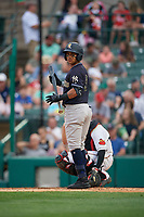 Scranton/Wilkes-Barre RailRiders Thairo Estrada (3) bats during an International League game against the Rochester Red Wings on June 24, 2019 at Frontier Field in Rochester, New York.  Rochester defeated Scranton 8-6.  (Mike Janes/Four Seam Images)