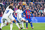 Real Madrid's Luka Modric, Marcelo Vieira, FC Barcelona's Leo Messi  during spanish La Liga match between Futbol Club Barcelona and Real Madrid  at Camp Nou Stadium in Barcelona , Spain. Decembe r03, 2016. (ALTERPHOTOS/Rodrigo Jimenez)