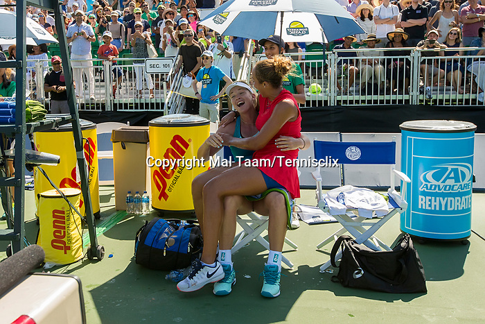 August 06, 2017: Madison Keys (USA) and CoCo Vandeweghe (USA) joke around after Keys defeated Vandeweghe 7-6 (7-4), 6-4 at the Bank of the West Classic finals being played at the Taube Tennis Stadium in Stanford, California. ©Mal Taam/TennisClix/CSM