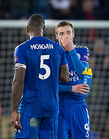 Goal scorer (50th Premier League Goal) Jamie Vardy of Leicester City  with Wes Morgan of Leicester City during the EPL - Premier League match between Leicester City and Manchester United at the King Power Stadium, Leicester, England on 23 December 2017. Photo by Andy Rowland.