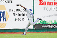 Bluefield Blue Jays center fielder Dwight Smith Jr. #25 can't catch this long fly ball during the Appalachian League game against the Elizabethton Twins at Joe O'Brien Field on July 14, 2012 in Elizabethton, Tennessee.  The Twins defeated the Blue Jays 4-0.  (Brian Westerholt/Four Seam Images)