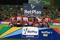 BUCARAMANGA - COLOMBIA, 11-10-2021: Jugadores del Junior posan para una foto previo al encuentro por la fecha 13 de la Liga BetPlay DIMAYOR II 2021 entre Atlético Bucaramanga y Atlético Junior jugado en el estadio Alfonso Lopez de la ciudad de Bucaramanga. / Players of Junior pose to a photo prior the match for the date 13 of the BetPlay DIMAYOR League II 2021 between Atletico Bucaramanga and Atletico Junior played at the Alfonso Lopez stadium of Bucaramanga city. Photo: VizzorImage / Jaime Moreno / Cont