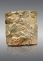 Pictures & images of the North Gate Hittite sculpture stele depicting a Hittite chariot. 8th century BC. Karatepe Aslantas Open-Air Museum (Karatepe-Aslantaş Açık Hava Müzesi), Osmaniye Province, Turkey. Against grey background