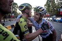 Daryl Impey (ZAF/Mitchelton-Scott) & Michael Hepburn (AUS/Mitchelton-Scott)  hugging after finishing the 2019 Tour on the Champs-Élysées<br /> <br /> Stage 21: Rambouillet to Paris(128km)<br /> 106th Tour de France 2019 (2.UWT)<br /> <br /> ©kramon