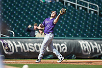 Furman Paladins third baseman Jared Mihalik (33) catches a pop fly during the game against the Wake Forest Demon Deacons at BB&T BallPark on March 2, 2019 in Charlotte, North Carolina. The Demon Deacons defeated the Paladins 13-7. (Brian Westerholt/Four Seam Images)