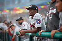 Tri-City ValleyCats Manny Ramirez (30) in the dugout while in a fog delay during a NY-Penn League game against the Brooklyn Cyclones on August 17, 2019 at MCU Park in Brooklyn, New York.  Brooklyn defeated Tri-City 2-1.  (Mike Janes/Four Seam Images)