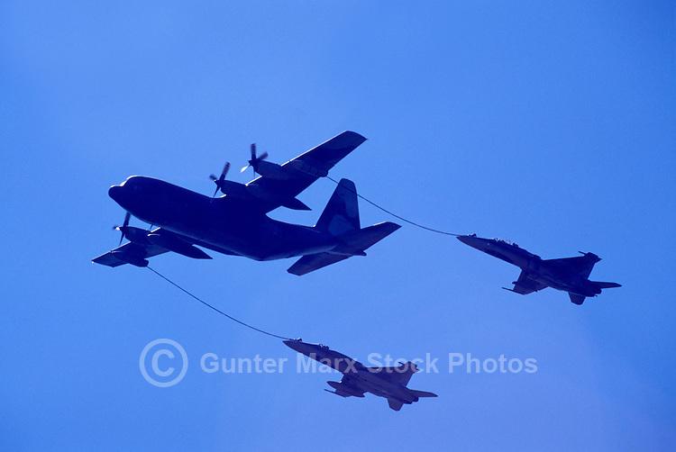 Probe-and-Drogue Aerial Refueling of Military Aircraft - Lockheed C-130 Hercules to CF-18 (aka F/A-18) Hornets - at Abbotsford International Airshow, BC, British Columbia, Canada
