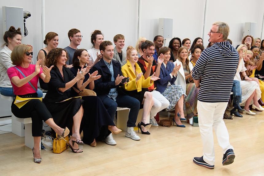 Dame Dacrcy Bussell, Ellie Bamber, Dame Kristin Scott Thomas, Charity Wakefield and Jasper Conran<br /> front row at the Jasper Conran London Fashion Week SS18 catwalk show, London<br /> <br /> ©Ash Knotek  D3431  15/09/2018