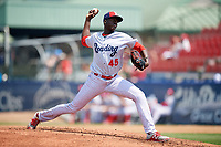 Reading Fightin Phils starting pitcher Franklyn Kilome (45) during game two of a doubleheader against the Portland Sea Dogs on May 15, 2018 at FirstEnergy Stadium in Reading, Pennsylvania.  The game was suspended in the ninth inning with Reading leading Richmond 9-7.  (Mike Janes/Four Seam Images)